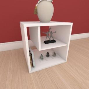 Kit com 2 Mesa de cabeceira moderna com nichos em mdf branco