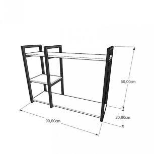 Mini estante industrial para sala aço cor preto mdf 30 cm cor amadeirado escuro modelo ind16aeeps