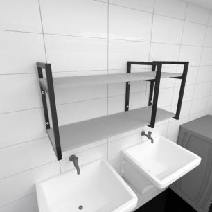 Prateleira industrial para lavanderia aço cor preto prateleiras 30cm cor cinza modelo ind21clav