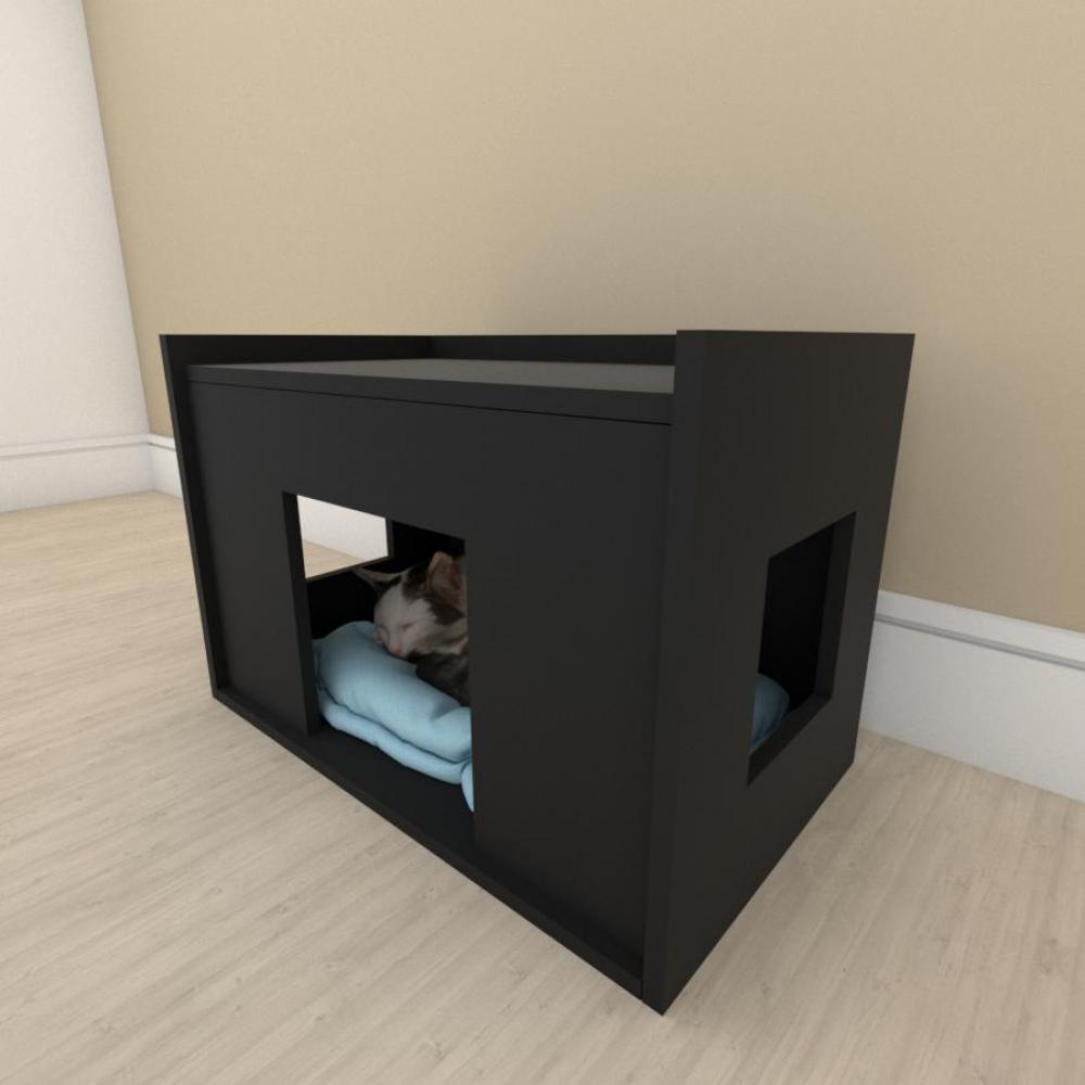Mesa de cabeceira bercinho casinha para Gato em mdf Preto