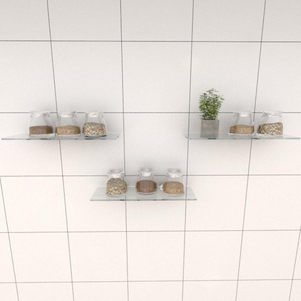 Kit com tres Prateleira para cozinha 30 cm vidro temperado