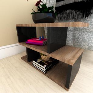 Mini estante para escritório moderna amadeirado escuro com preto