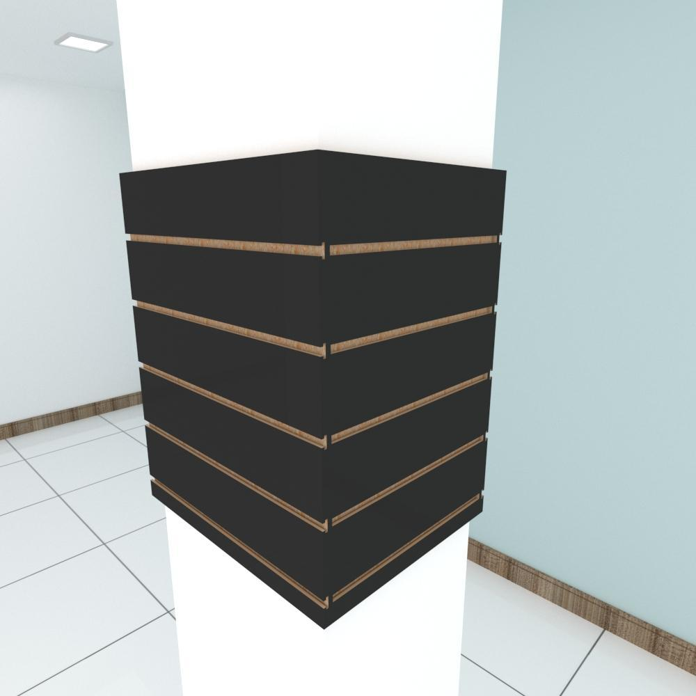 Kit 4 Painel canaletado para pilar preto 2 peças 54(L)x60(A)cm + 2 peças 40(L)x60(A)cm