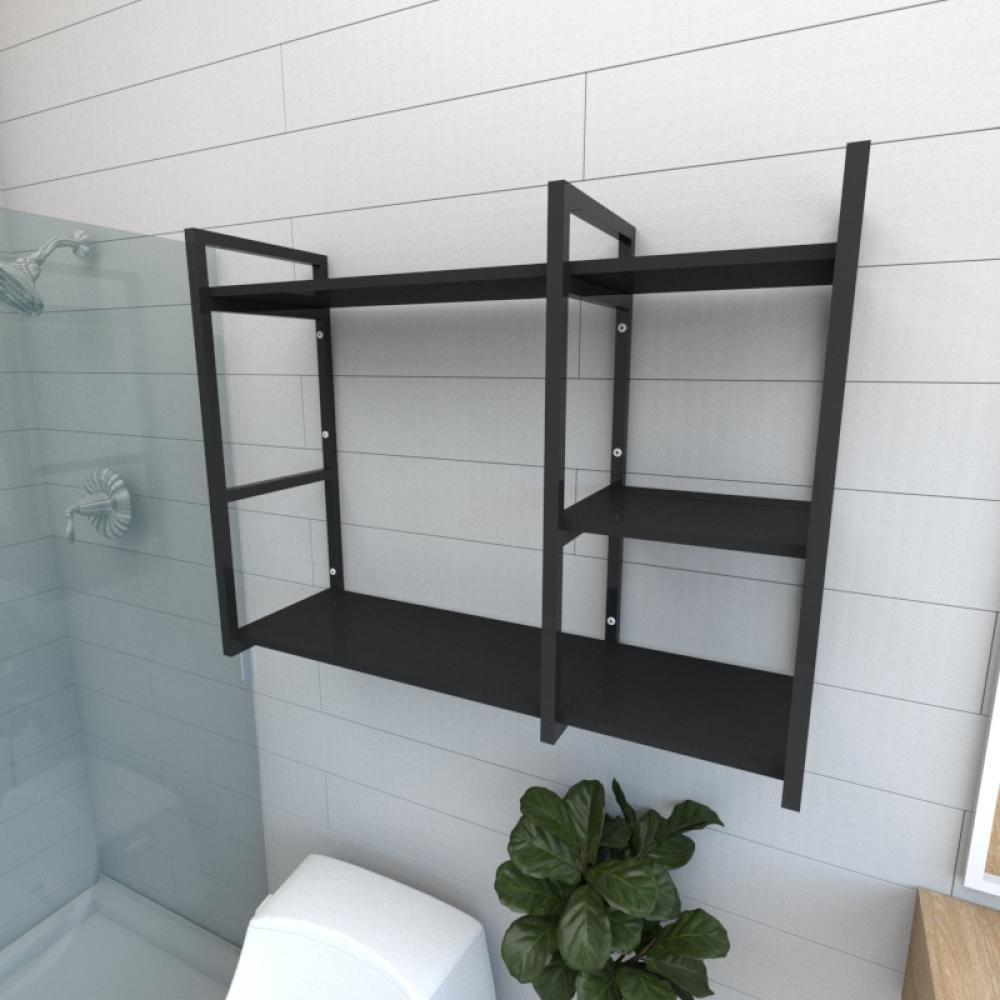 Prateleira industrial para banheiro aço cor preto prateleiras 30 cm cor preto modelo ind16pb