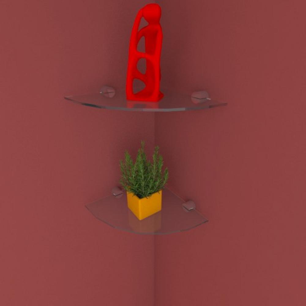 Kit com duas Prateleira para escritório de canto 20 cm vidro temperado