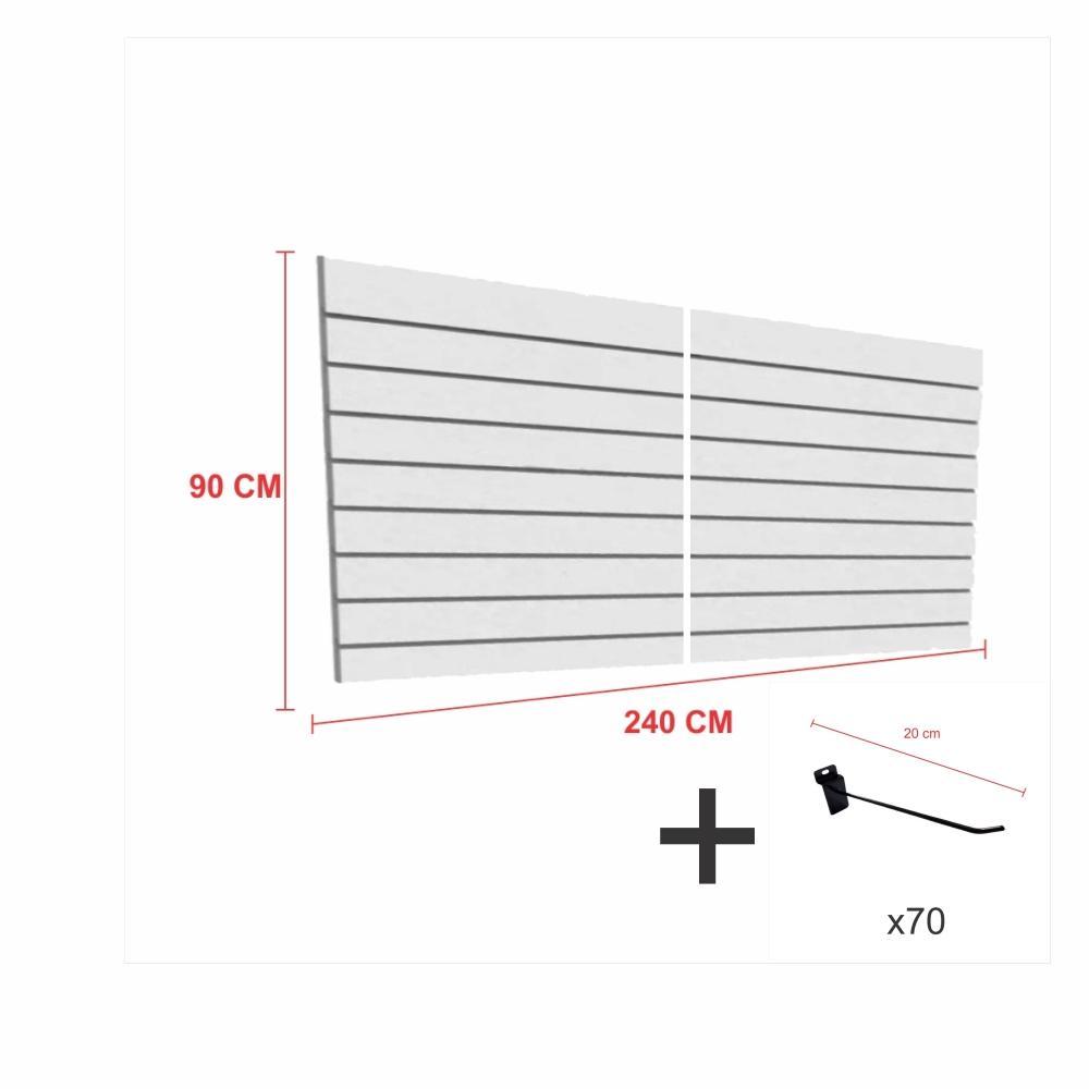 Expositor canaletado cinza alt 90 cm comp 240 cm mais 70 ganchos 20 cm