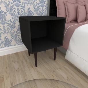 Mesa de Cabeceira moderna em mdf preto com 4 pés retos em madeira maciça cor tabaco