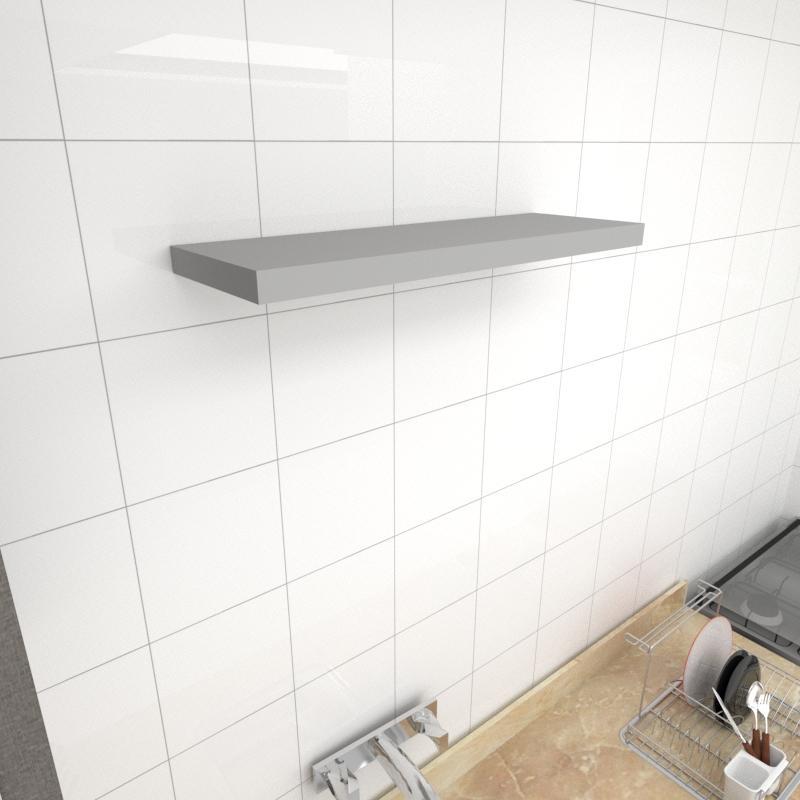 Prateleira para cozinha MDF suporte Inivisivel cor cinza 60(C)x20(P)cm modelo pratcc28