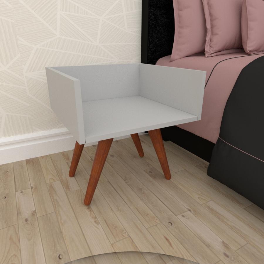 Mesa de Cabeceira minimalista em mdf cinza com 4 pés inclinados em madeira maciça cor mogno
