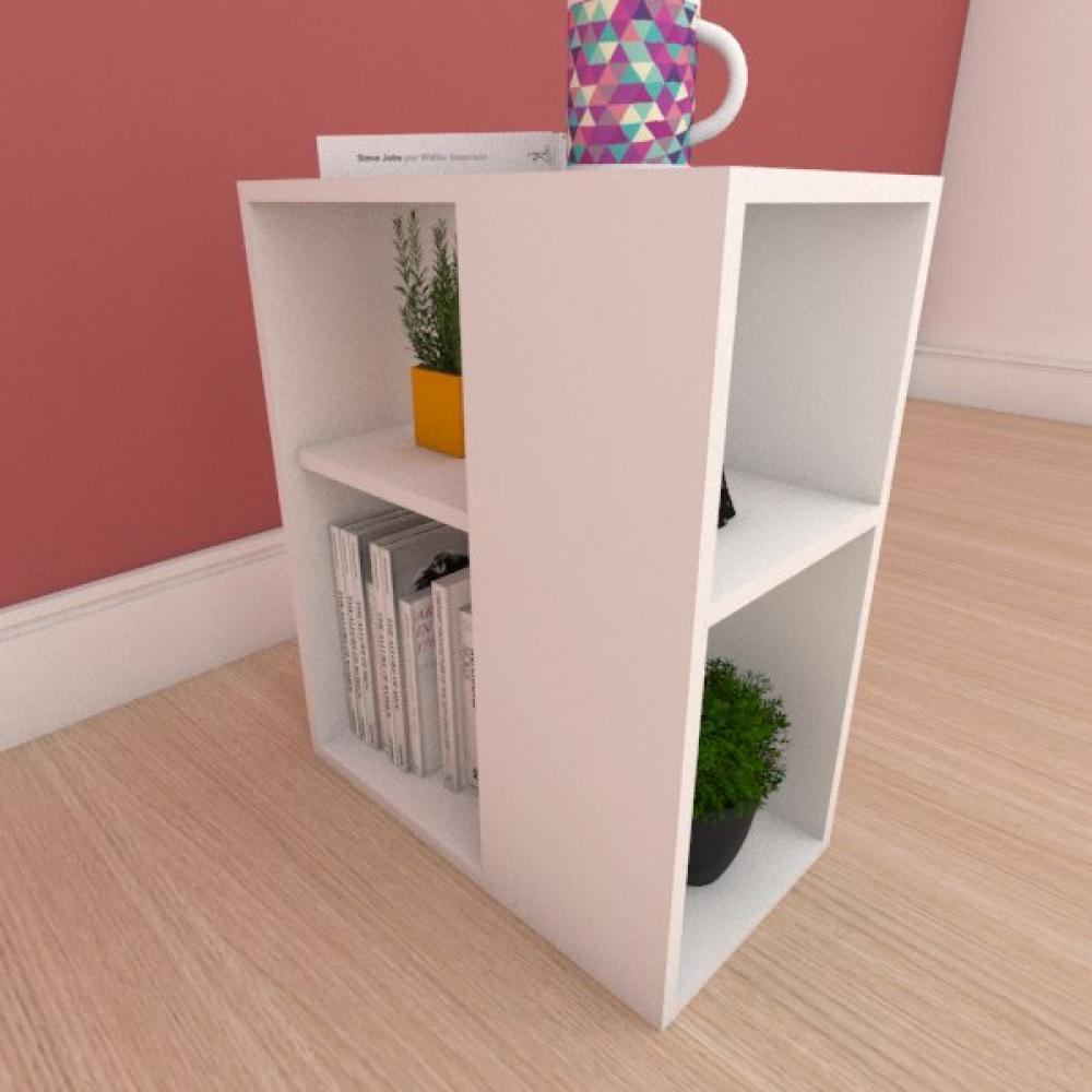 Mesa Lateral pequena com prateleira em mdf branco