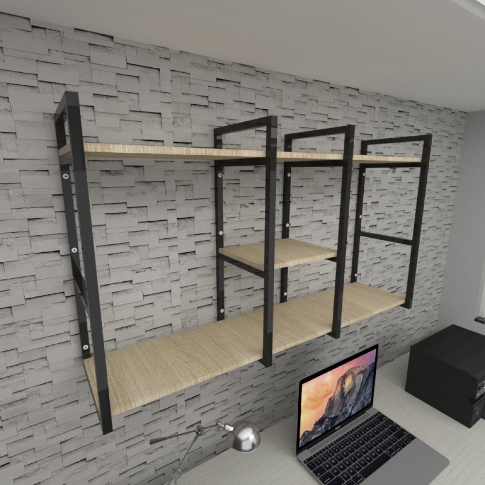 Prateleira industrial para escritório aço cor preto mdf 30 cm cor amadeirado claro modelo ind18aces