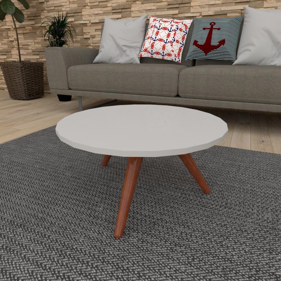 Mesa de Centro redonda em mdf cinza com 3 pés inclinados em madeira maciça cor mogno