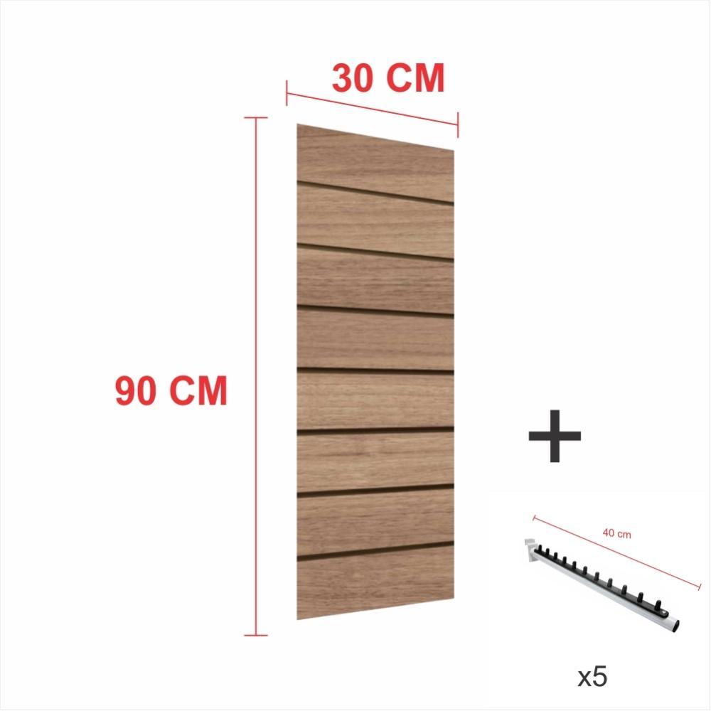 Kit Painel canaletado amadeirado alt 90 cm comp 30 cm mais 5 ganchos rt 40 cm para roupas