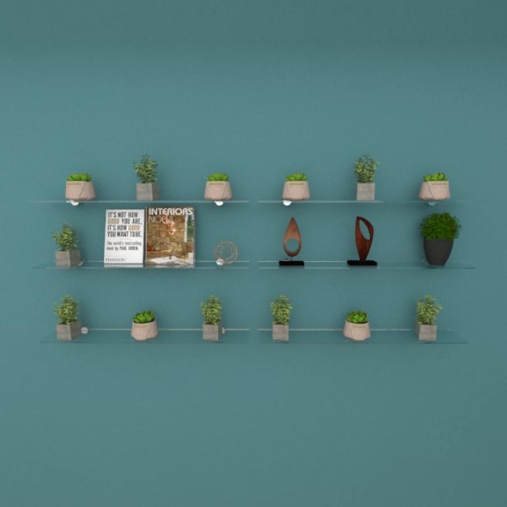 Kit com seis Prateleira para sala 60 cm vidro temperado