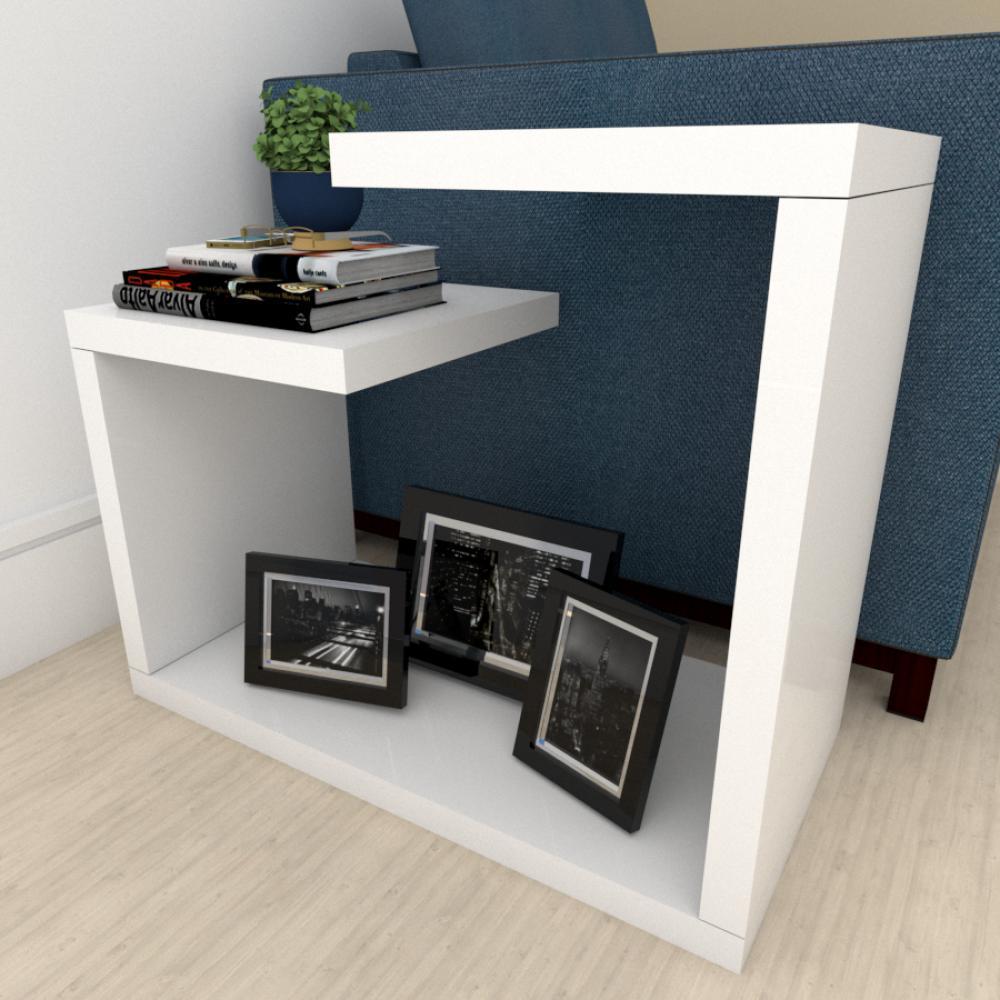 Mesa Lateral para sofá moderna Branco
