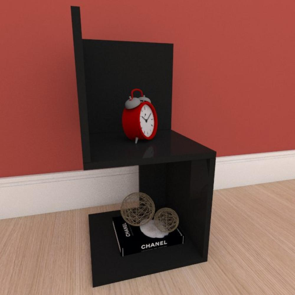 Mesa de cabeceira minimalista em mdf preto