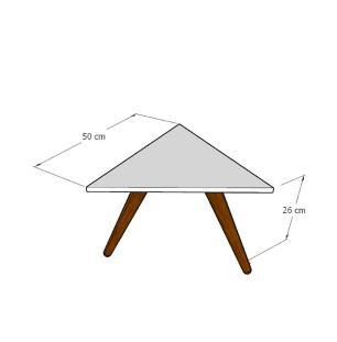 Mesa de Centro triangular em mdf amadeirado escuro com 3 pés inclinados em madeira maciça cor mogno