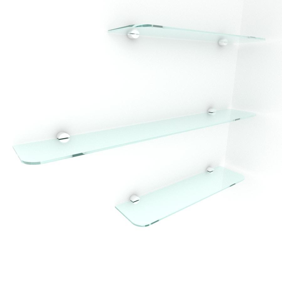kit com 3 Prateleira de vidro temperado para escritorio 2 de 40(C)x8(P)cm 1 de 60(C)x8(P)cm