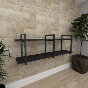 Aparador industrial aço cor preto prateleiras 30 cm cor preto modelo ind05papr