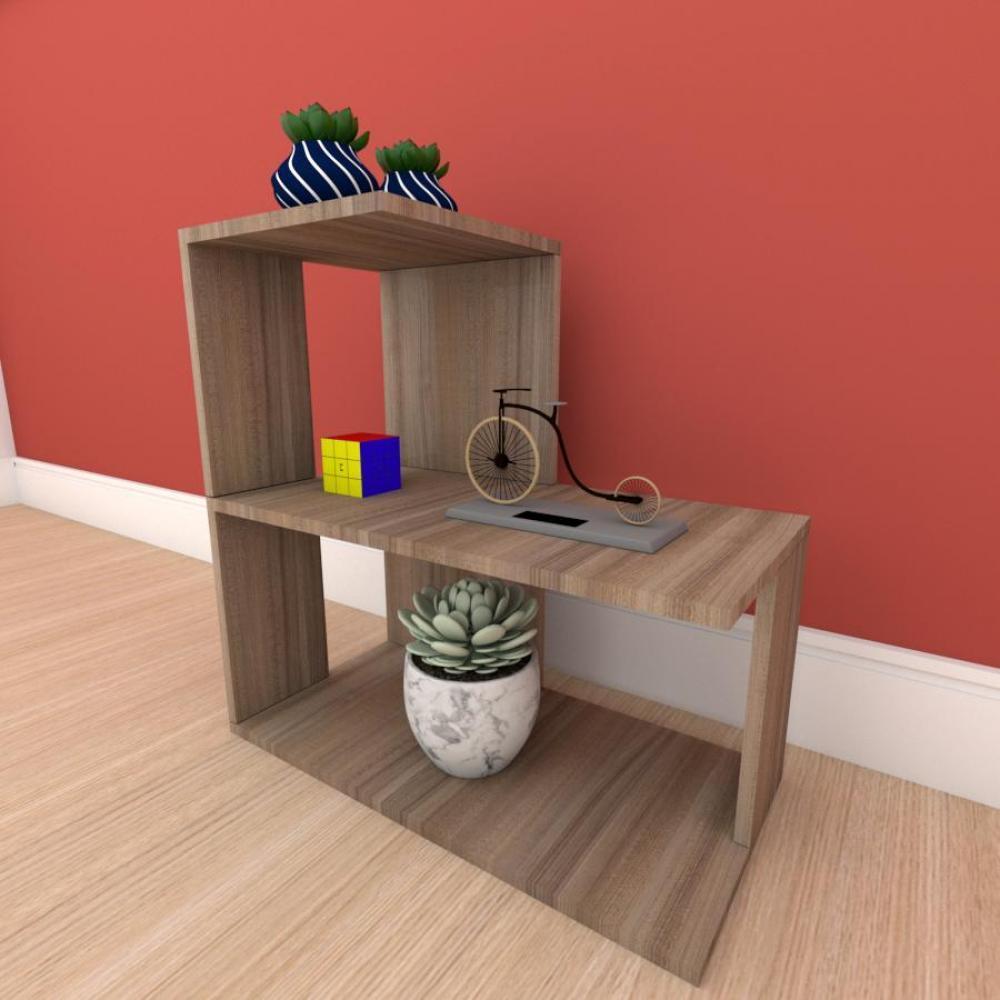 kit com 2 Mesa de cabeceira formato S simples em mdf Amadeirado