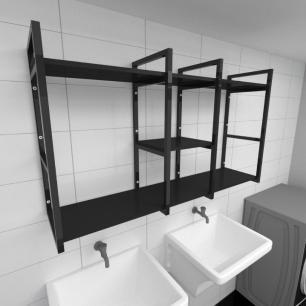 Prateleira industrial para lavanderia aço cor preto prateleiras 30cm cor preto modelo ind18plav