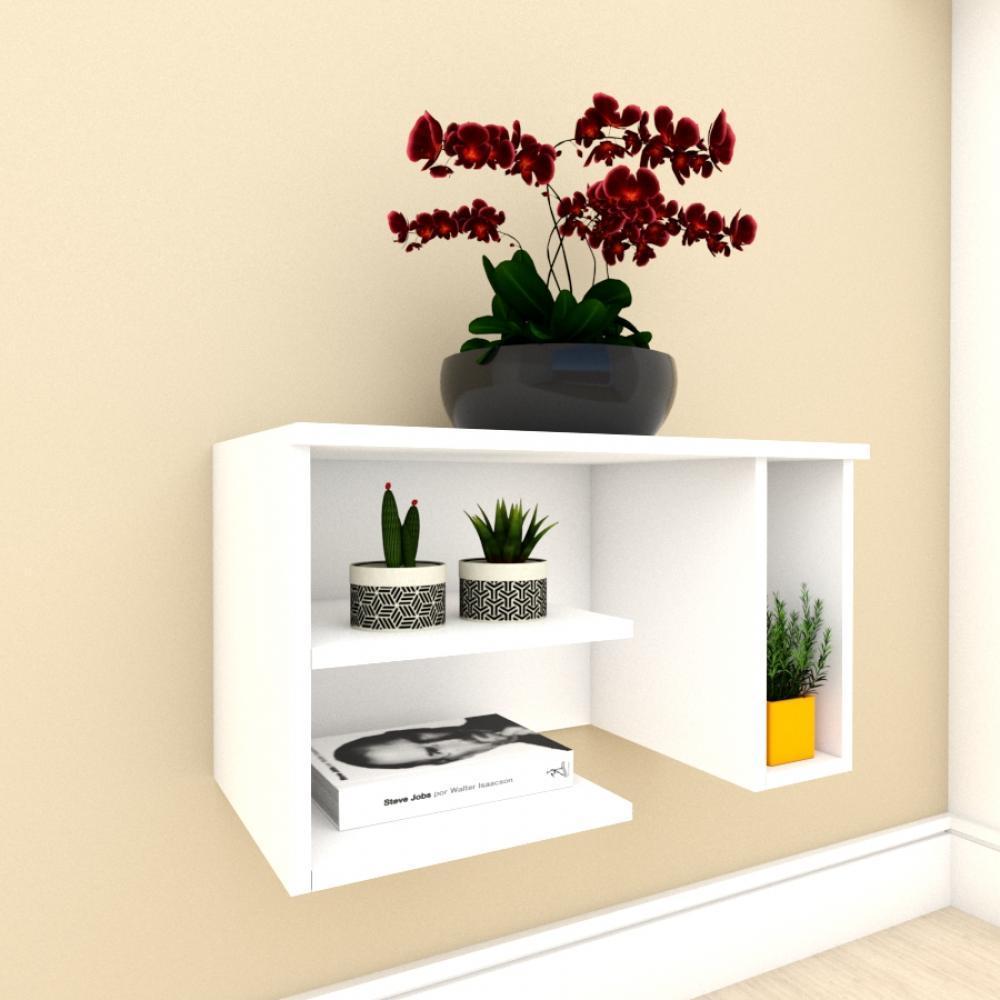Mesa de Cabeceira moderno com nichos em mdf Branco