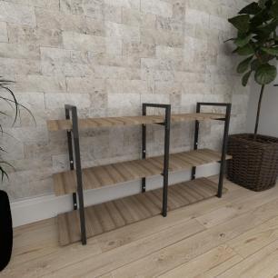 Mini estante industrial para escritório aço cor preto mdf 30cm cor amadeirado escuro mod ind12aeep