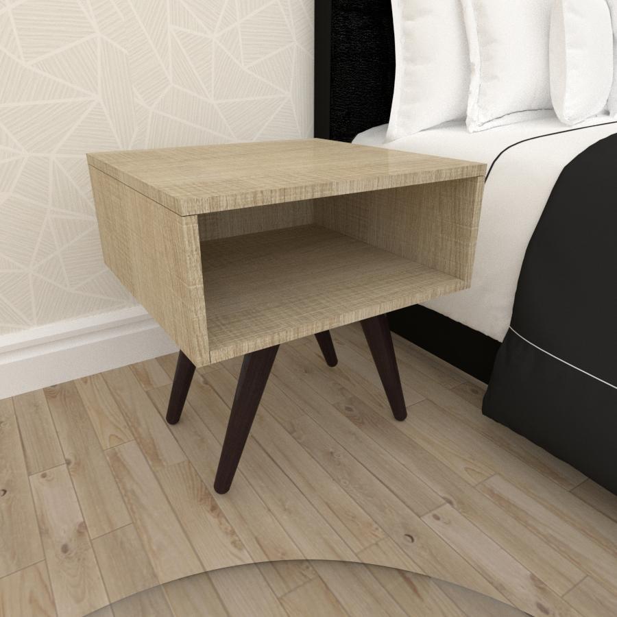 Mesa de Cabeceira em mdf amadeirado claro com 4 pés inclinados em madeira maciça cor tabaco