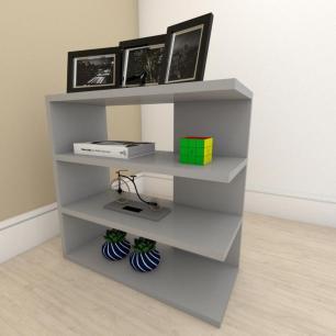 Mesa Lateral para sofá slim com 3 niveis em mdf Cinza