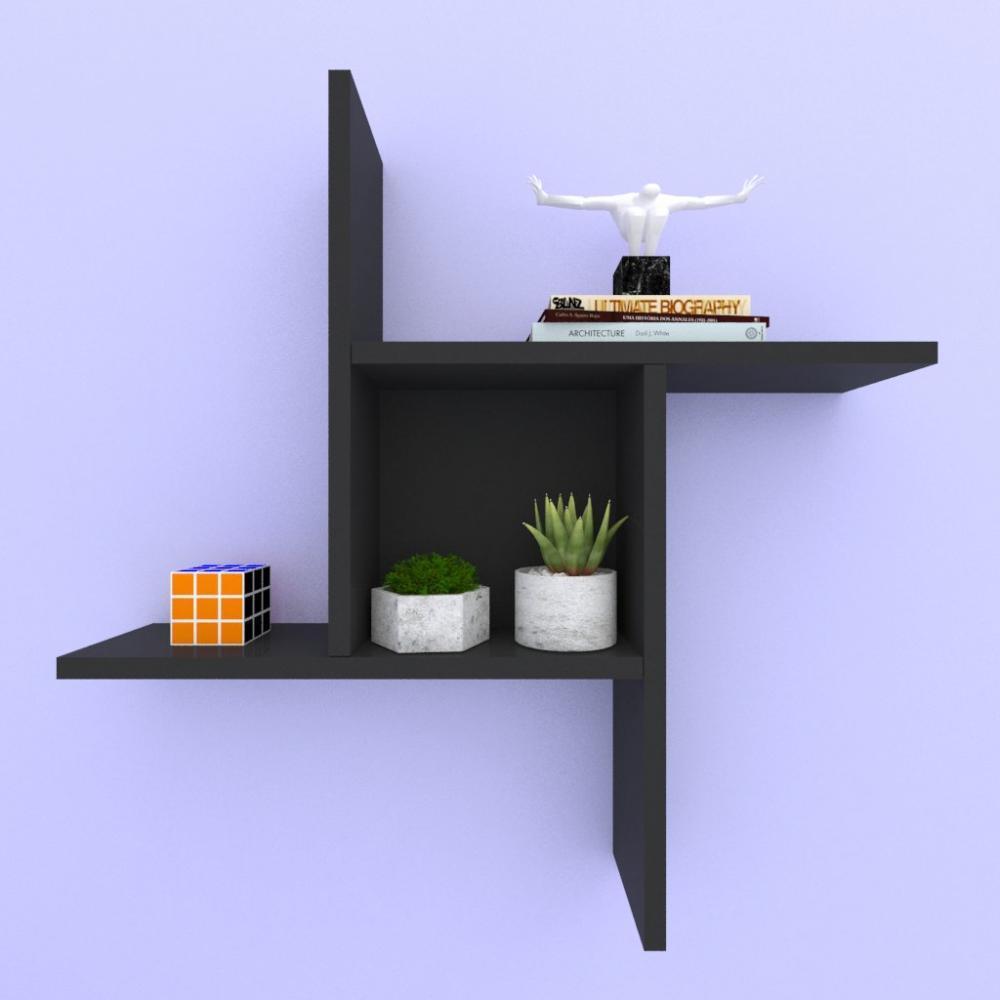 Kit com 2 nichos multi uso, moderno, todos em mdf preto