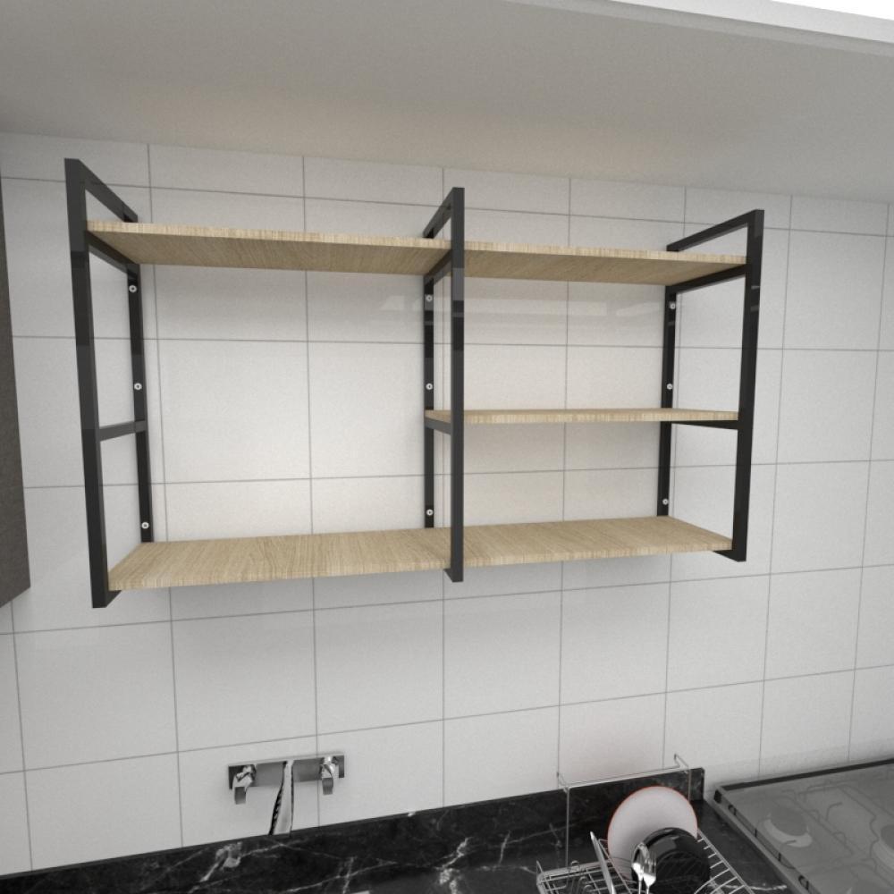 Prateleira industrial para cozinha aço cor preto prateleiras 30cm cor amadeirado claro mod ind14acc