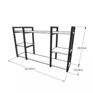 Aparador industrial aço cor preto mdf 30 cm cor amadeirado claro modelo ind17acapr