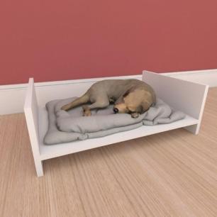 Mesa de cabeceira caminha simples pequeno cachorro em mdf branco