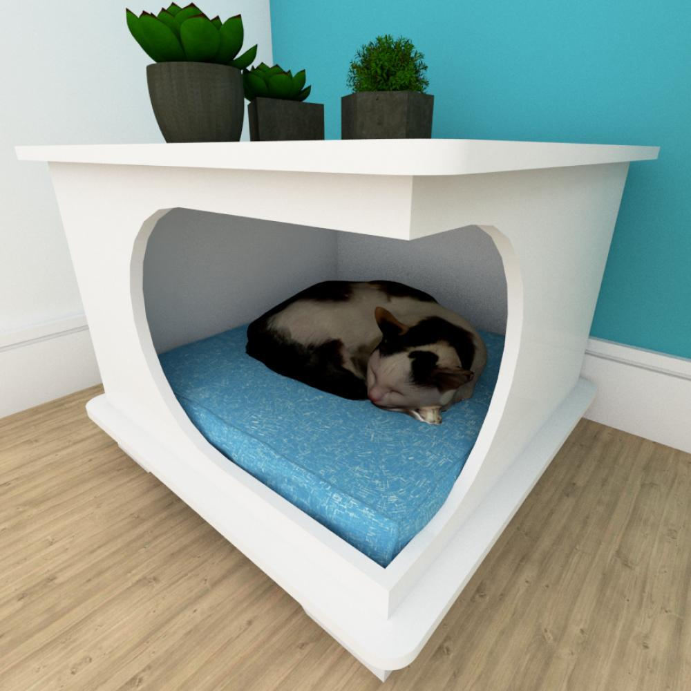 Mesa de cabeceira caminha cachorro gato mdf Branco