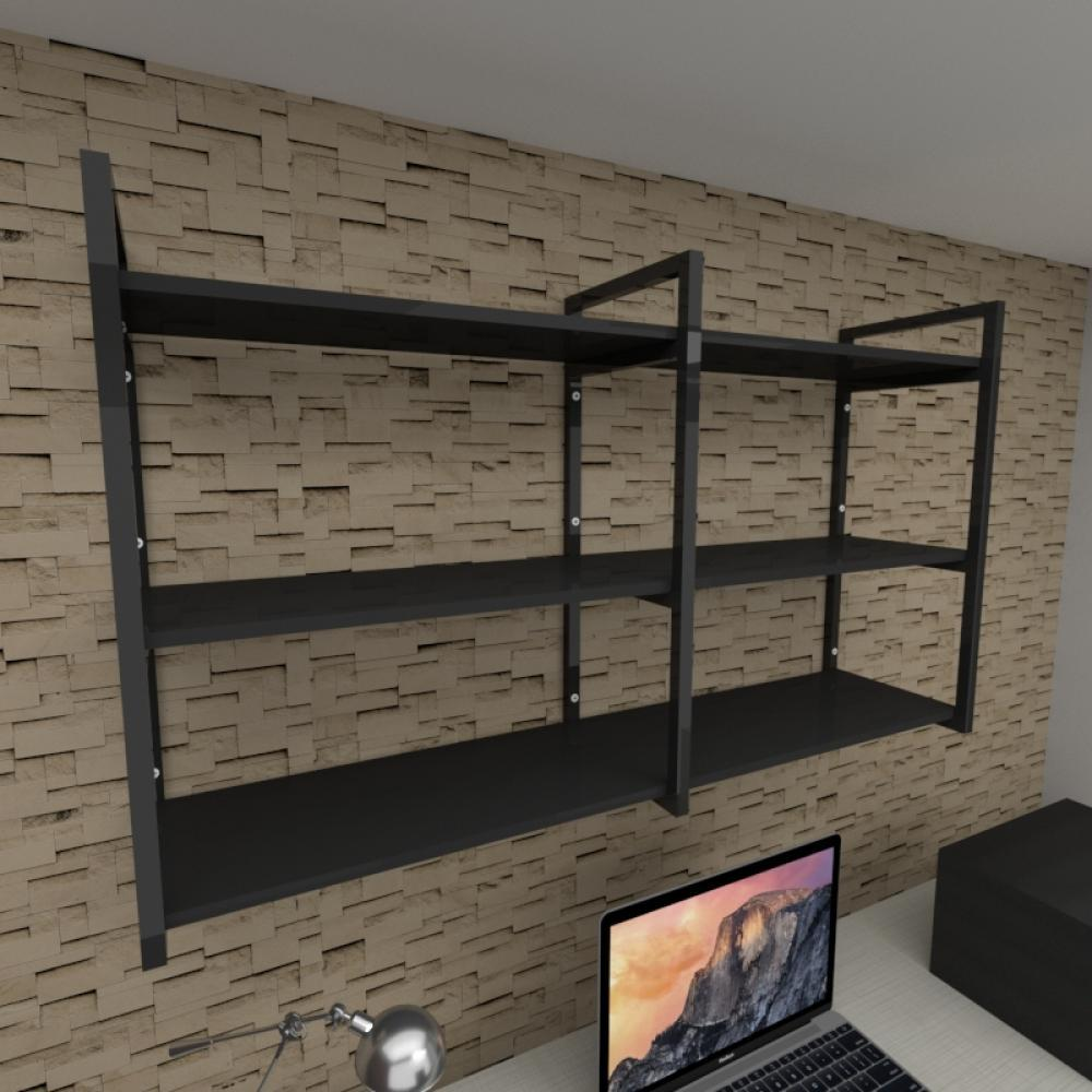 Prateleira industrial para escritório aço cor preto prateleiras 30 cm cor preto modelo ind11pes