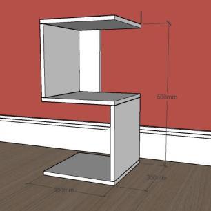 Mesa lateral para sofá formato S simples em mdf Preto