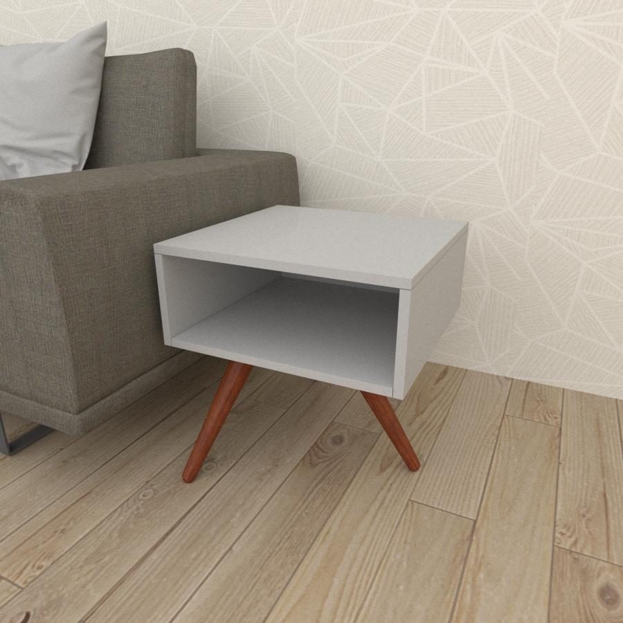 Mesa lateral em mdf cinza com 3 pés inclinados em madeira maciça cor mogno