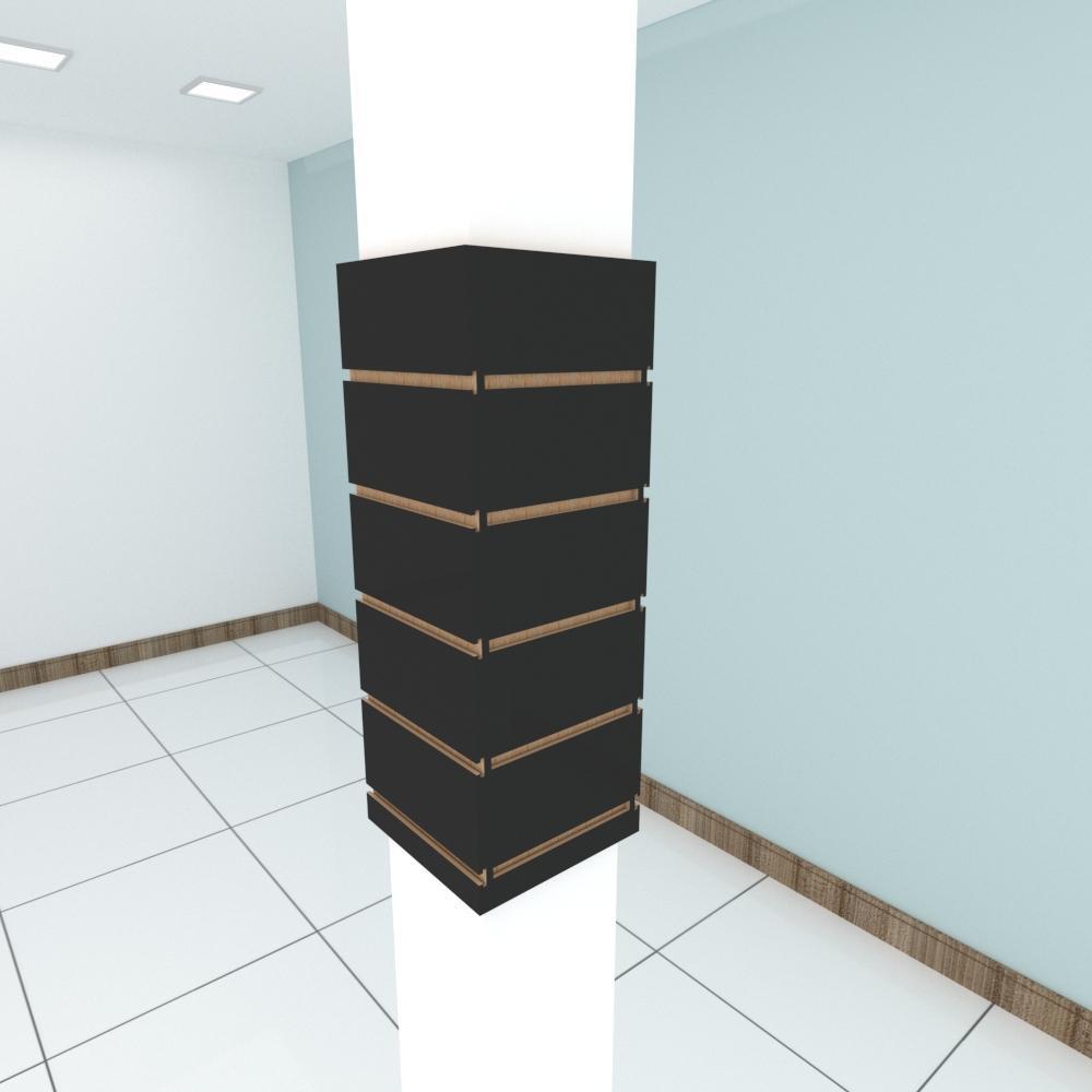 Kit 4 Painel canaletado para pilar preto 2 peças 24(L)x60(A)cm + 2 peças 20(L)x60(A)cm