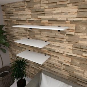Kit 3 prateleiras sala em MDF suporte tucano branco 2 60x30cm 1 90x30cm modelo pratslb15