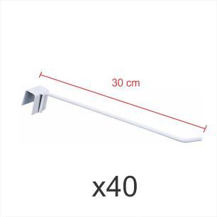 Pacote com 40 ganchos 4mm branco de 30 cm para gondola, para porta gancheira 20x20 e 20x40