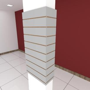 Kit 4 Painel canaletado para pilar cinza cristal 2 peças 54(L)x120(A)cm + 2 peças 20(L)x120(A)cm