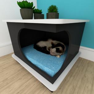 Mesa de cabeceira caminha gato mdf preto com cinza