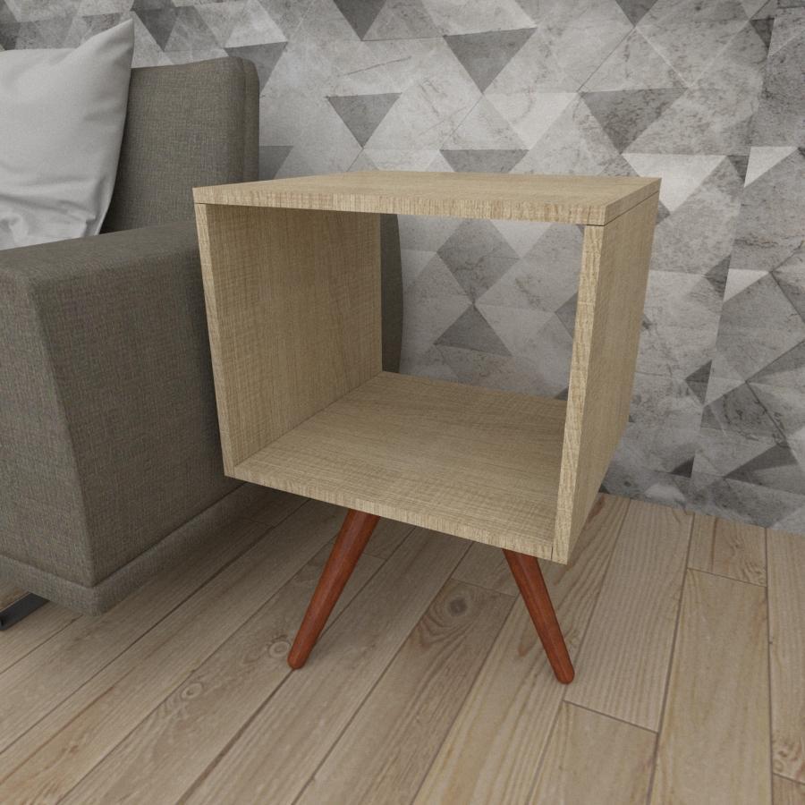 Mesa lateral nicho em mdf amadeirado claro com 3 pés inclinados em madeira maciça cor mogno