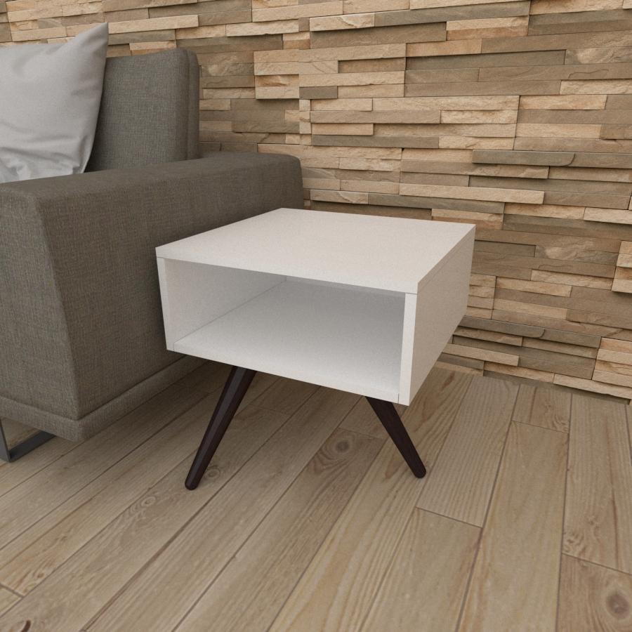 Mesa lateral em mdf branco com 3 pés inclinados em madeira maciça cor tabaco