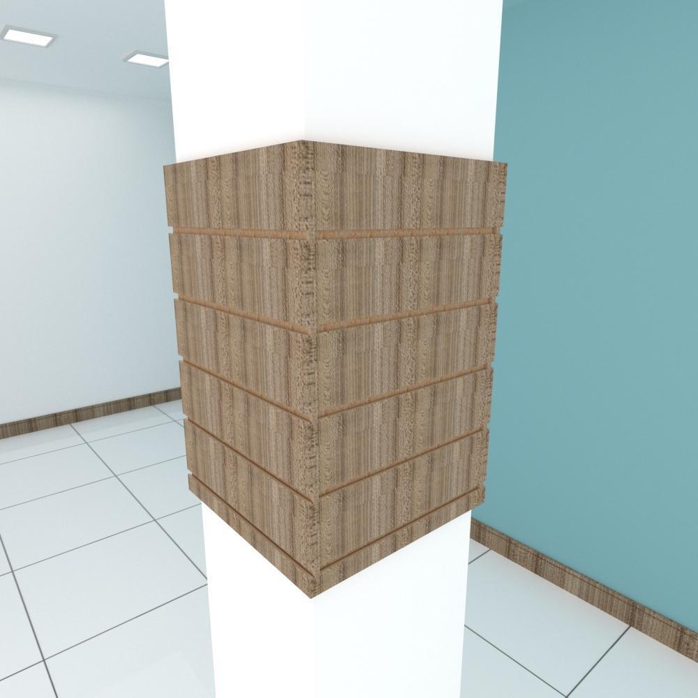 Kit 4 Painel canaletado para pilar amadeirado escuro 2 peças 44(L)x60(A) cm + 2 peças 40(L)x60(A) cm