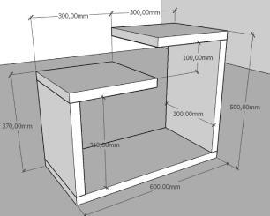 Mini estante para escritório moderna amadeirado escuro
