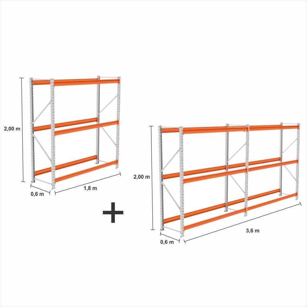 kit com 3 Expositor Mini Porta Pallet 2 inic + 1 cont 250KG Com 3 niveis 2,00X1,80X0,60 Sem Bandeja