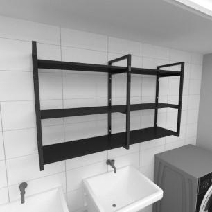 Prateleira industrial para lavanderia aço cor preto prateleiras 30 cm cor preto modelo ind11plav