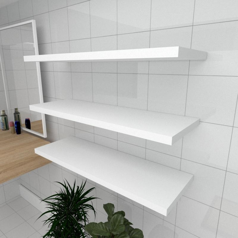 Kit 3 prateleiras para banheiro em MDF suporte Inivisivel branco 90x30cm modelo pratbnb21