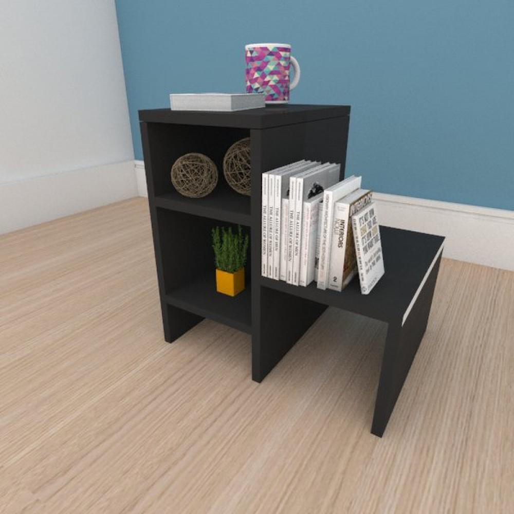 Mesa de cabeceira compacta moderna em mdf preto